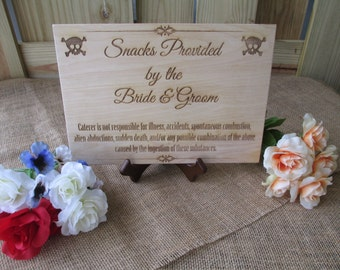 One Humorous Snack Table Sign with EASEL for Wedding Reception - Item 1633