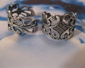 Sterling Silver Ox Plated Filigree Adjustable Ring Bases 499SOX x2