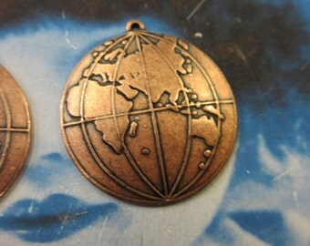 Copper Ox Plated World Globe Map Brass Charms 551COP x2