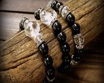 Coal, Black Onyx Bracelets- Set Of Three Stacking Bracelets- Bohemian Stack Bracelets- Crystal Bracelets- Stretch Bracelets