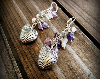 Purple Heart, Western Cowgirl Southwestern Boho Purple Flourite Gemstone Heart Cluster Earrings