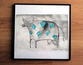 a4 ink drawing - turquoise swarovski cow