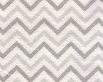 Flannel Fabric, Zig Zag Gray and White Chevron, 1/2 Yard, more available