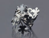 Oxidized Enchanted Floral Branch Sterling Silver Ring - Brushed Silver Art Jewelry