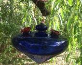 Recycled material hummingbird feeder - Cobalt blue color