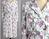 floral print rayon dress | vintage double breasted blouson dress | S