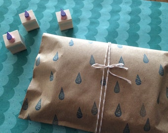 Three rain drops--- hand carved rubber stamp set