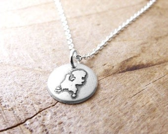 Tiny Netherlands necklace silver map jewelry Netherlands jewelry Holland necklace Nederland necklace