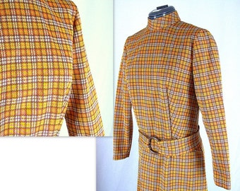 Vintage 1960's / 1970's Gold Plaid Schoolgirl Dress, Modern Size 8, Small
