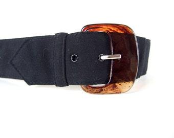 Vintage 1980's Wide Black Belt, Modern Size 8, Small