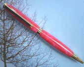 Pink Pearl Hand Made Pen - Pearly Pink & Blue - Gold Finish - Slimline Ballpoint