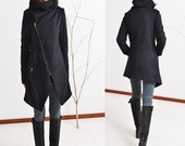Black Swan - warm quilted asymmetrical cashmere wool coat / idea2lifestyle cashmere jacket (Y5130)