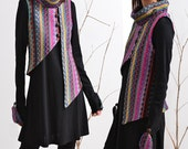 Sherpa girl - cotton jersey tunic dress with asymmetrical vest (Q1502)