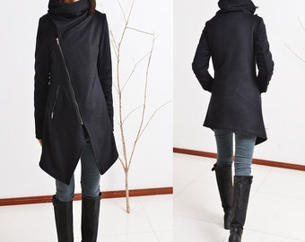 Black Swan - asymmetrical quilted cashmere wool coat (Y5130)