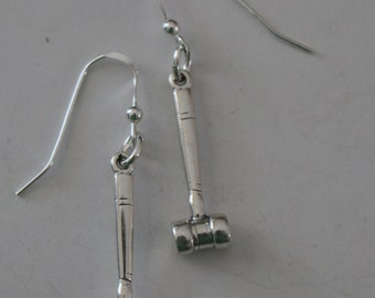 Sterling Silver 3D GAVEL Earrings -- Courtroom, Judge, Law, Attorney, Legal
