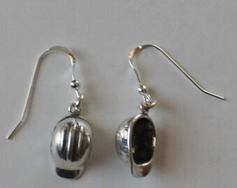 Sterling Silver 3D HARD HAT Earrings - Construction