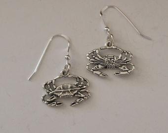 Sterling Silver CRABS Earrings - 3D - French Earwires - Beach, Seashore, Food