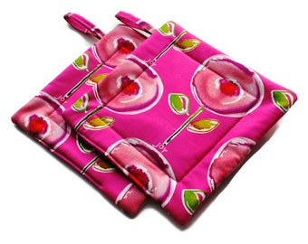 Handmade Quilted Pot Holders Abstract Poppies Set of 2 Pink