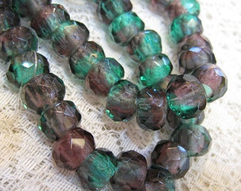 6 Emerald Amethyst Czech Pressed Glass Large Hole Faceted Roller Beads 8mm x 12mm