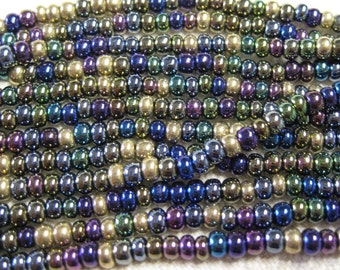 6/0 Heavy Metal Mix Genuine Czech Glass Preciosa Rocaille Seed Beads 12 grams