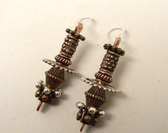 Steampunk jewelry mixed metal earrings. Steampunk earrings.