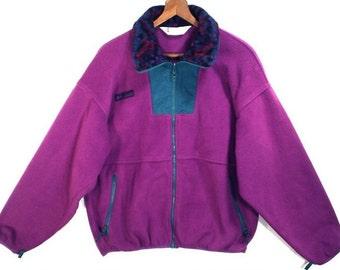 80's vintage purple and teal green // COLOR BLOCK jacket // Columbia fleece jacket XL