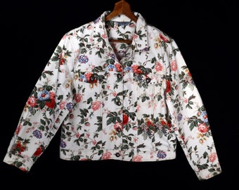 90's FLORAL brushed cotton jacket // vintage cropped jacket // silver studs // size M L