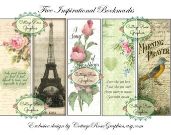 5 Vintage style Inspirational Bookmarks Large digital download collage pink Roses French verse buy 3 get one free ecs, svfteam
