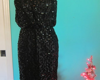 Vintage 1950s Sequined Wiggle Bombshell Party Dress Rockabilly VLV