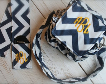 Monogrammed Personalized Custom Navy Chevron Camera Bag w Strap Cover