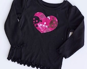 Punk Rock Pink and black Skull and Crossbones Tee - 12m