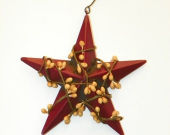 Burgundy 5 Inch Metal Star with Gold/Burgundy Pip Berries