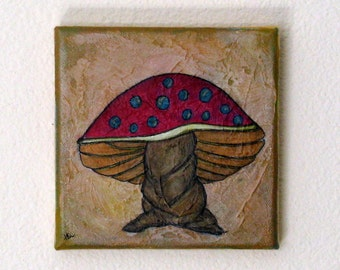 mushroom - original mixed media by Tremundo SALE