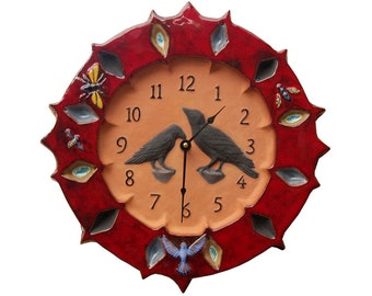 "Ravens Ceramic Terracotta Wall Clock  in Red, Blue & Yellow Glaze (13"" in diameter)"