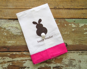 SALE -- Happy Keaster Chocolate Bunny Tail Easter Linen Guest Towel