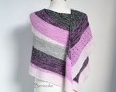 Knitted shawl, striped, pink, white, black, grey, M255