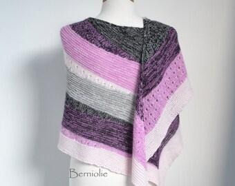 Knitted shawl, striped, pink, white, black, grey, M255