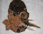 Handmade Brooch Cotton + Satin Fabric Flower Pin Brooch Jewelery Accessory Woman+ Miss Teen Wedding