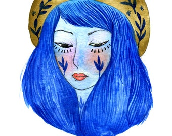 Girl with a hat. Art print. Illustration