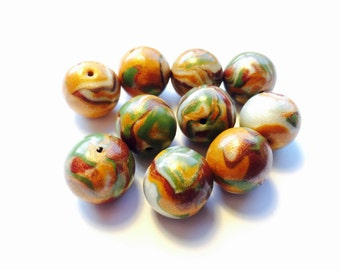 Marbled Earth Tone Handmade Polymer Clay 15 MM Beads