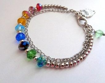 Rainbow  Bracelet, Multi Color Bracelet, Friendship Bracelet, Bridesmaid Gift, Owl Bracelet, Charm Bracelet