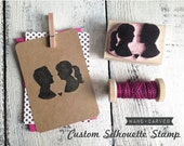Custom Couples Hand-Carved Silhouette Rubber Stamp - Perfect for DIY Save the Dates Wedding Invitations Crafts - Couples Portrait Profile