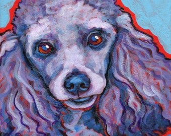 Gray Miniature POODLE Dog Art Original Painting on Canvas 8x8 by Lynn Culp