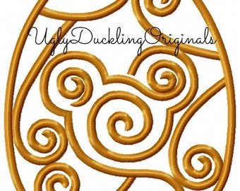 Mickey Swirl Easter Egg Machine Embroidery Applique Design Digital Download