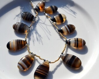 Natural Striped Chalcedony Graduated Briolette Strand of 11