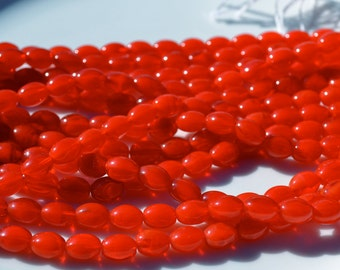 Vintage Tomato Red Rice Czech Glass Beads   25