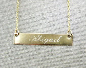 Personalized Gold Bar Necklace | Gold Filled | Engraved | Rectangle Name Plate Name Bar.  (NN081)