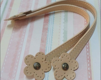 "1 pairs of 12"" Beige Cream Genuine Leather Flower Shape Sewing Line Handbag Handle Bag Supplies"