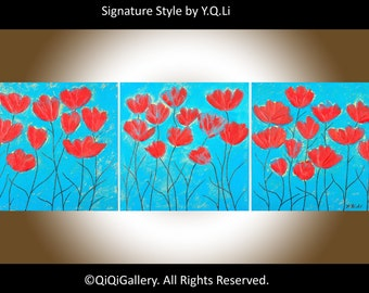 """Turquoise painting Red flower painting wall art canvas art Heavy Texture Palette Knife original artwork """"Spring Heat Waves"""" by QIQIGALLERY"""
