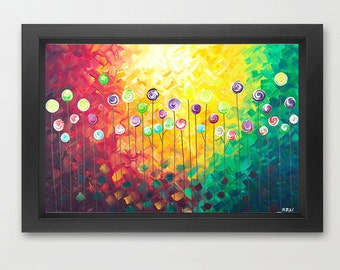 """Original Abstract painting Giclee prints & posters Wall decor home decor decorative wall hangings """"What A Beautiful Day"""" by QIQIGallery"""